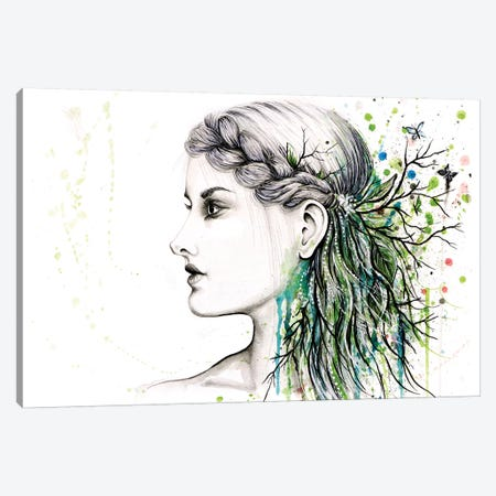 Forest Lover Girl Portrait Canvas Print #FAB20} by Michelle Faber Canvas Wall Art