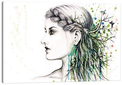 Forest Lover Girl Portrait Canvas Art Print