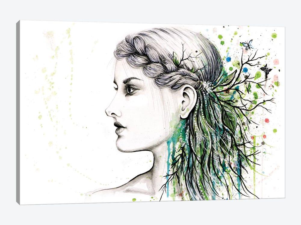 Forest Lover Girl Portrait by Michelle Faber 1-piece Canvas Art Print