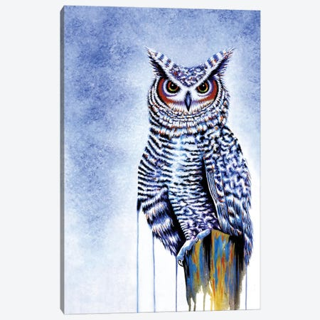 Great Horned Owl In Blue Canvas Print #FAB26} by Michelle Faber Art Print