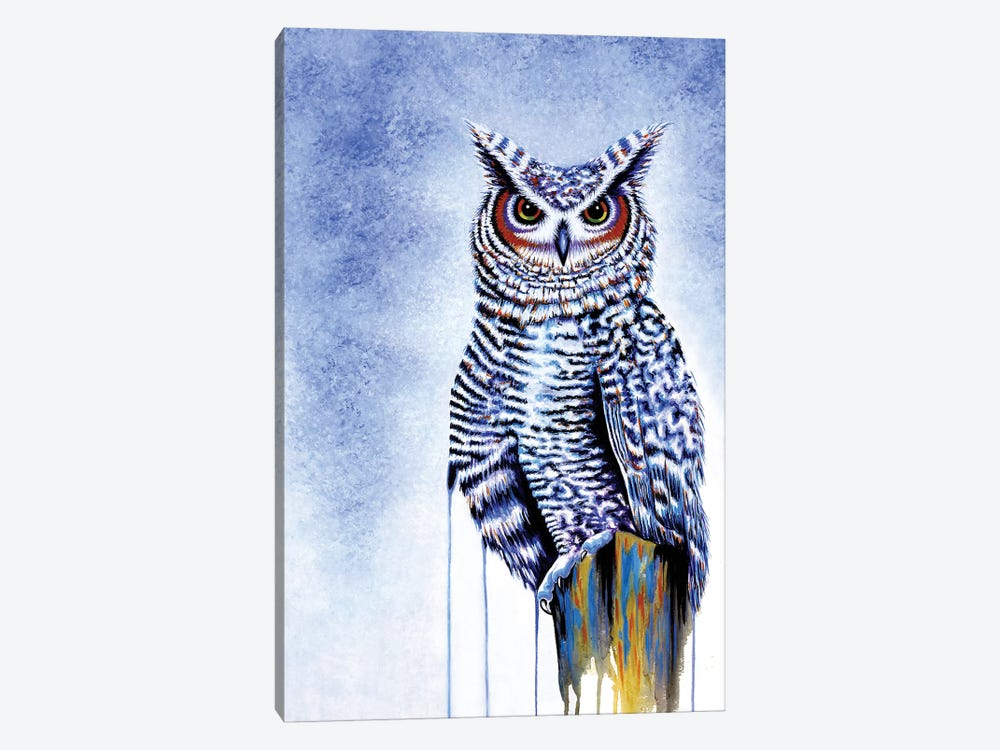 Great Horned Owl In Blue by Michelle Faber 1-piece Canvas Art Print