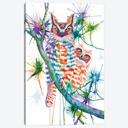 Momma And Baby Owl Canvas Print #FAB32} by Michelle Faber Art Print