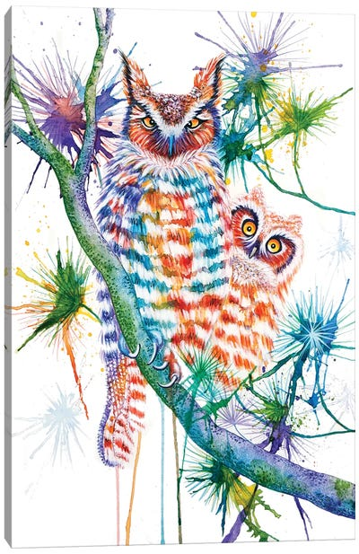 Momma And Baby Owl Canvas Art Print
