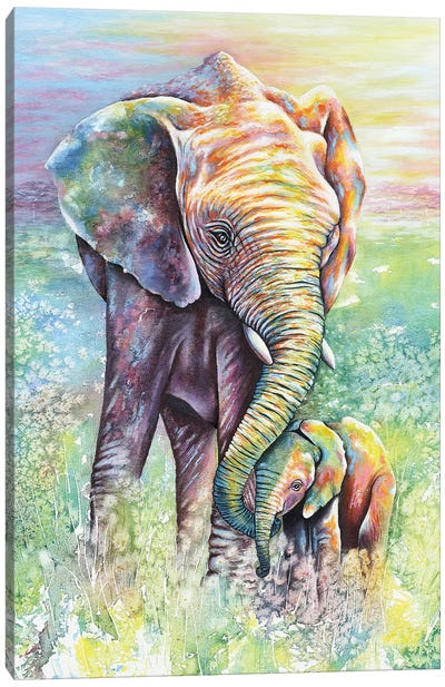 Mother & Baby Elephant Rainbow Colors Canvas Art Print