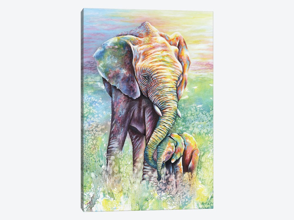 Mother & Baby Elephant Rainbow Colors by Michelle Faber 1-piece Art Print