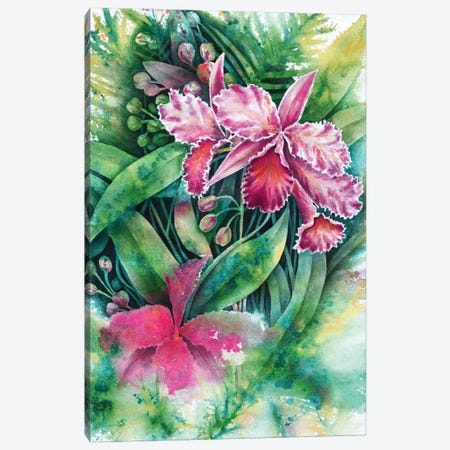 Pink Orchid Canvas Print #FAB40} by Michelle Faber Canvas Art