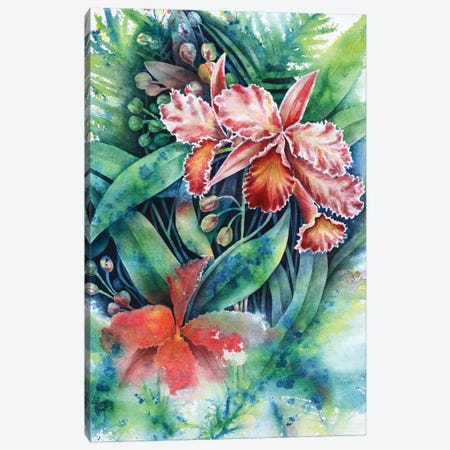 Red Orchid 3-Piece Canvas #FAB44} by Michelle Faber Canvas Art Print