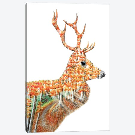 Spirit Of The Forest Deer Landscape Canvas Print #FAB48} by Michelle Faber Canvas Artwork