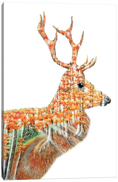 Spirit Of The Forest Deer Landscape Canvas Art Print