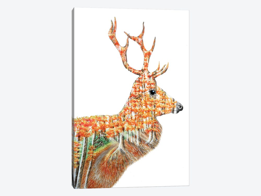 Spirit Of The Forest Deer Landscape by Michelle Faber 1-piece Canvas Print