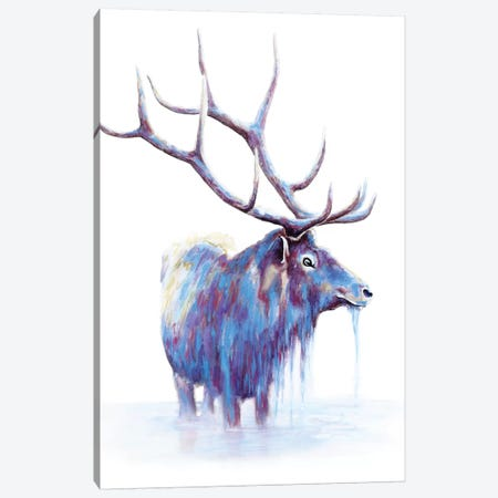 Elk In Water Canvas Print #FAB4} by Michelle Faber Art Print