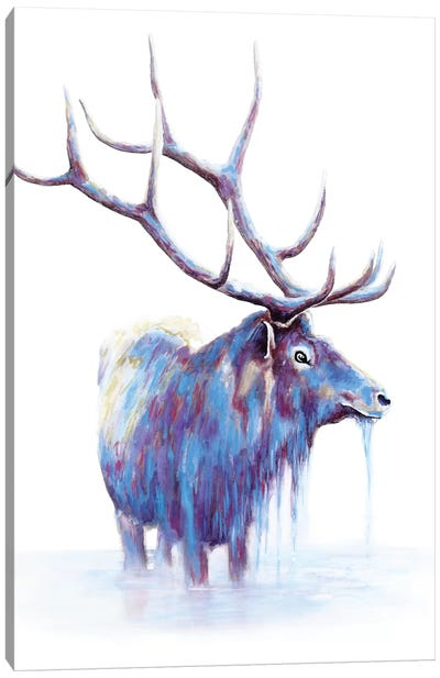 Elk In Water Canvas Art Print