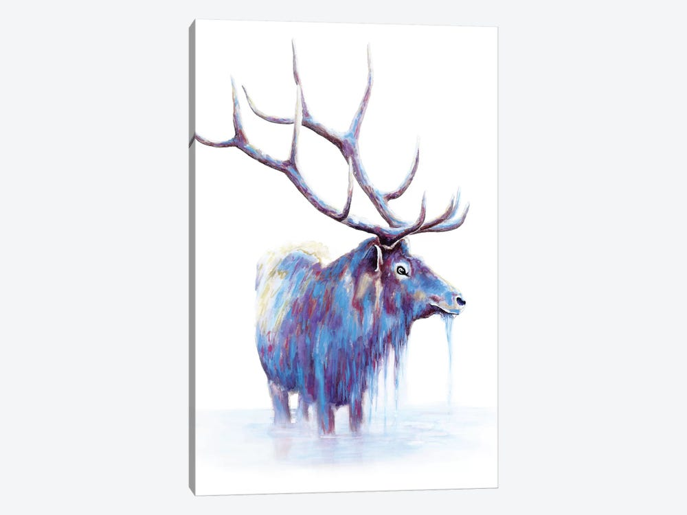 Elk In Water by Michelle Faber 1-piece Canvas Artwork