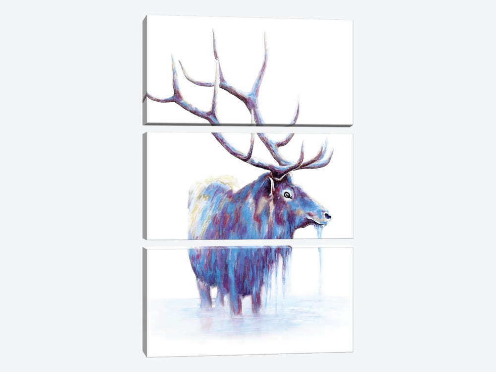 Elk In Water by Michelle Faber 3-piece Canvas Artwork