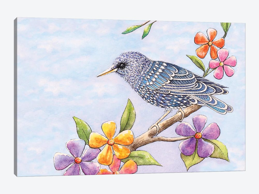 Starling Bird With Flowers 1-piece Canvas Art Print