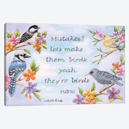 Birds And Flowers Quote Canvas Print #FAB6} by Michelle Faber Art Print