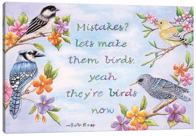 Birds And Flowers Quote Canvas Art Print