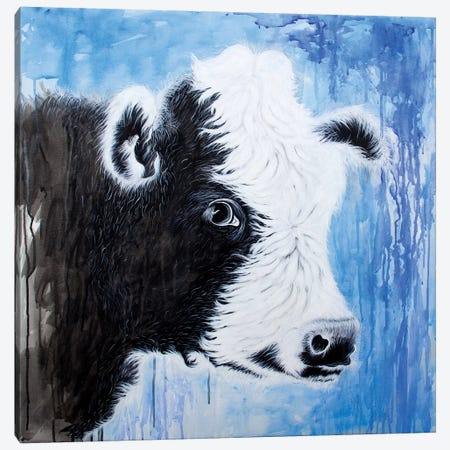 Black And White Cow 3-Piece Canvas #FAB7} by Michelle Faber Canvas Print