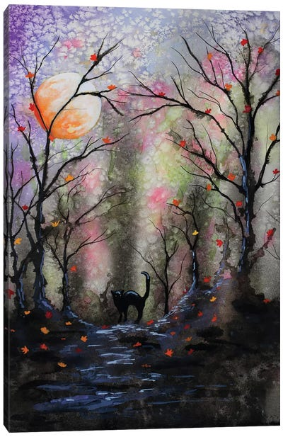 Black Cat In Forest Canvas Art Print