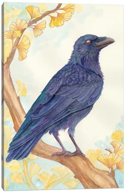 Perching Crow Canvas Art Print