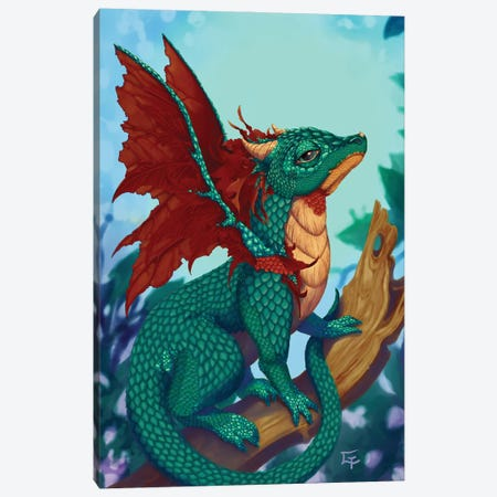 Scarlet Winged Dragon Canvas Print #FAI107} by Might Fly Art & Illustration Canvas Artwork