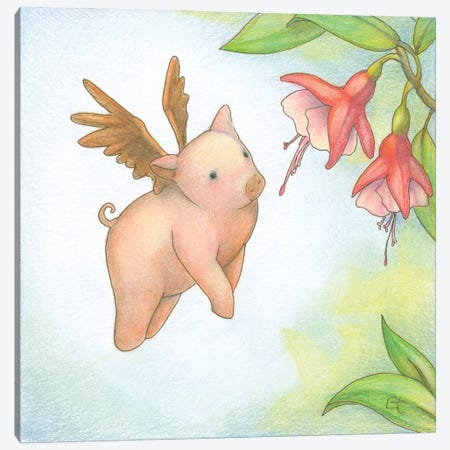 Humming Pig Canvas Print #FAI13} by Might Fly Art & Illustration Canvas Artwork