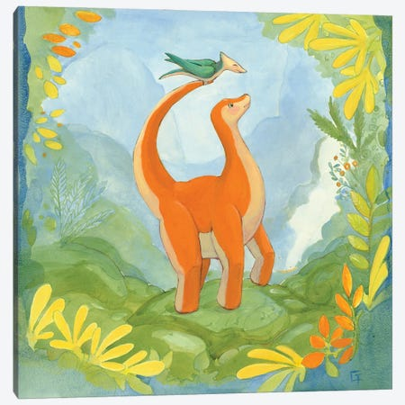 Cuddly Brontosaurus Canvas Print #FAI19} by Might Fly Art & Illustration Canvas Wall Art