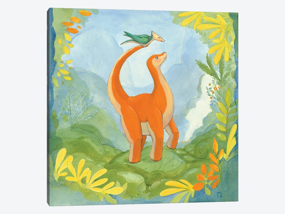 Cuddly Brontosaurus by Might Fly Art & Illustration 1-piece Canvas Wall Art