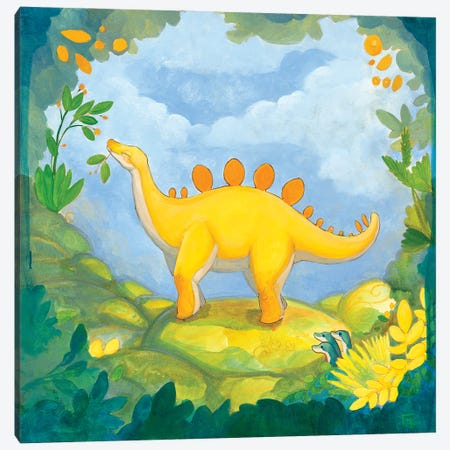 Cuddly Stegosaurus Canvas Print #FAI20} by Might Fly Art & Illustration Art Print