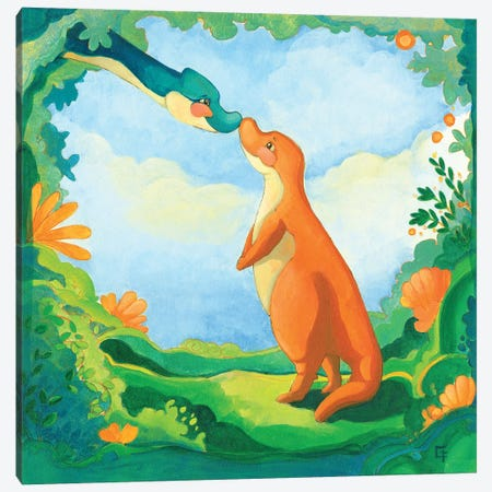 Cuddly T-Rex Canvas Print #FAI21} by Might Fly Art & Illustration Canvas Art Print