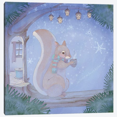 Cozy Squirrel Canvas Print #FAI23} by Might Fly Art & Illustration Canvas Print