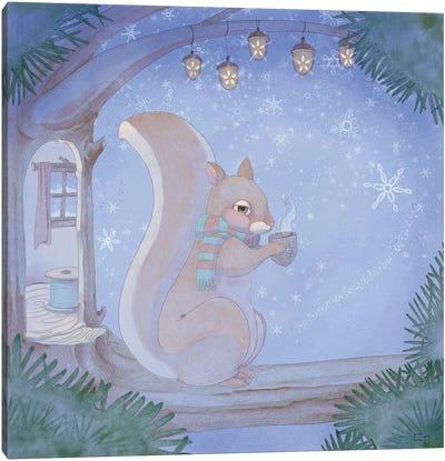 Cozy Squirrel Canvas Art Print