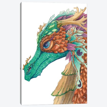 Copper Scaled Dragon Canvas Print #FAI30} by Might Fly Art & Illustration Canvas Wall Art