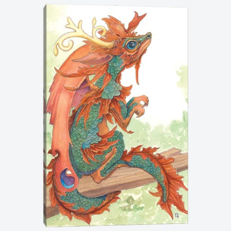 Fallen Leaf Dragon Canvas Print #FAI33} by Might Fly Art & Illustration Canvas Artwork