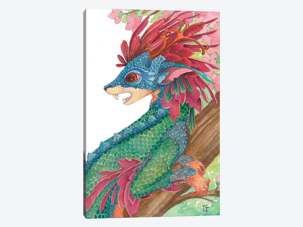Lesser Crested Dragon by Might Fly Art & Illustration 1-piece Canvas Print