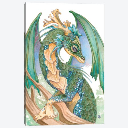 Pearl Sided Dragon Canvas Print #FAI37} by Might Fly Art & Illustration Canvas Art Print