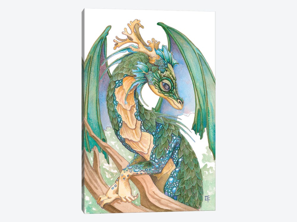 Pearl Sided Dragon by Might Fly Art & Illustration 1-piece Canvas Art