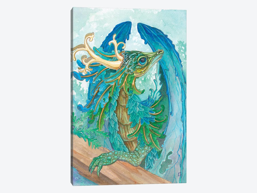 Ruffled Dragon by Might Fly Art & Illustration 1-piece Canvas Wall Art