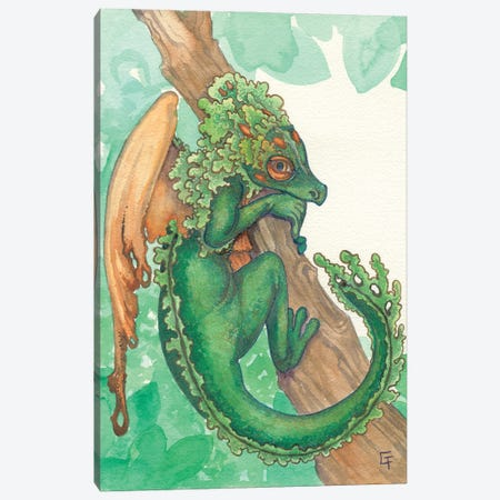 Tufted Moss Dragon Canvas Print #FAI40} by Might Fly Art & Illustration Canvas Print