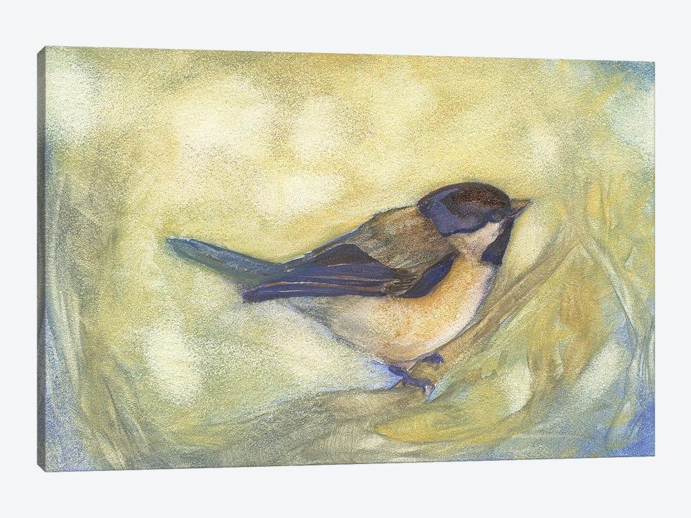 Chickadee in Dappled Sunlight by Might Fly Art & Illustration 1-piece Canvas Artwork