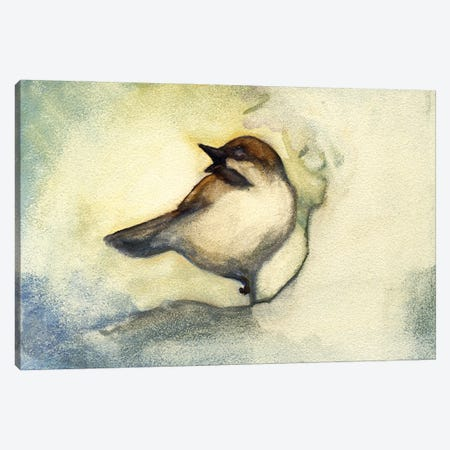 Singing Chickadee Canvas Print #FAI49} by Might Fly Art & Illustration Canvas Art Print