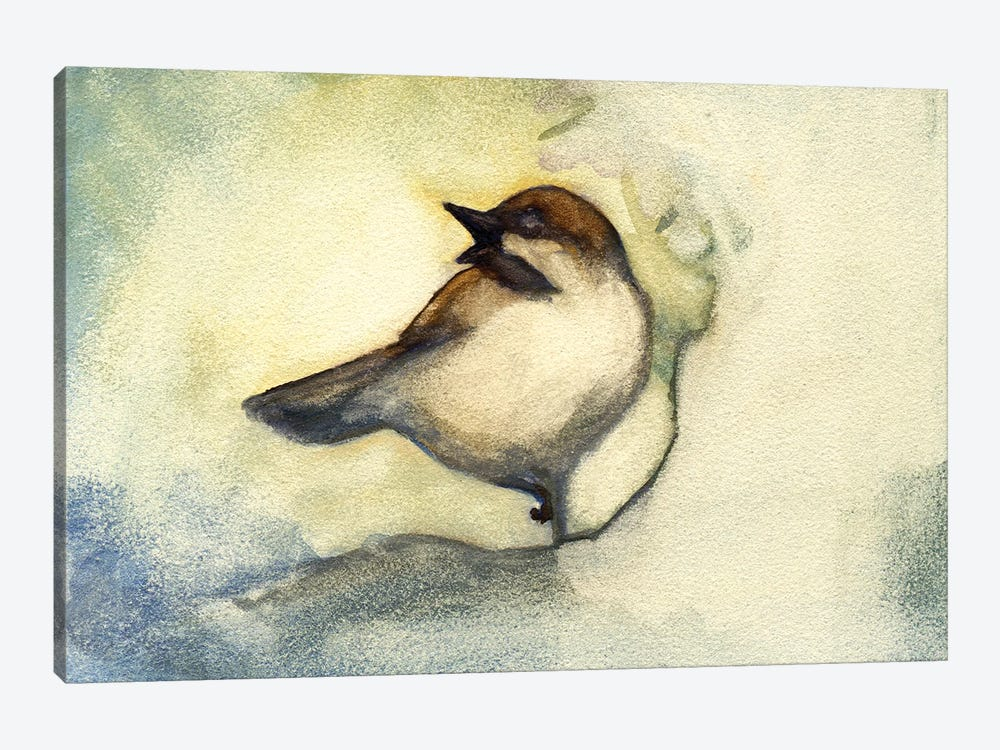Singing Chickadee by Might Fly Art & Illustration 1-piece Canvas Print