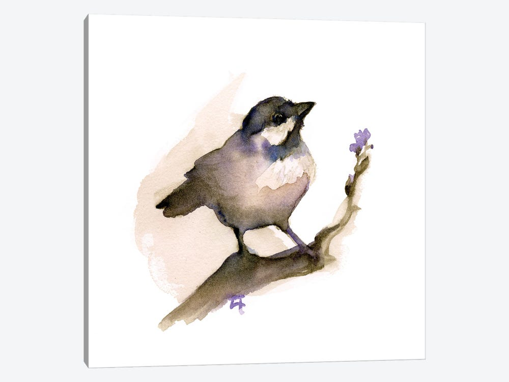 Perching Chickadee by Might Fly Art & Illustration 1-piece Canvas Wall Art
