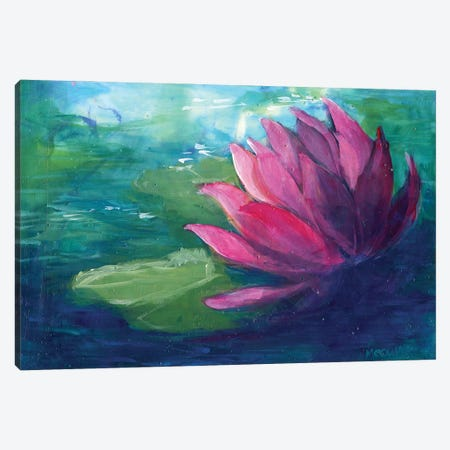 Pink Water Lilly Canvas Print #FAI6} by Might Fly Art & Illustration Canvas Artwork