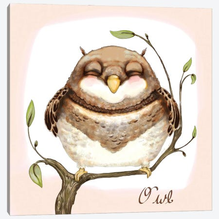 The Happiest Owl Canvas Print #FAI70} by Might Fly Art & Illustration Canvas Artwork
