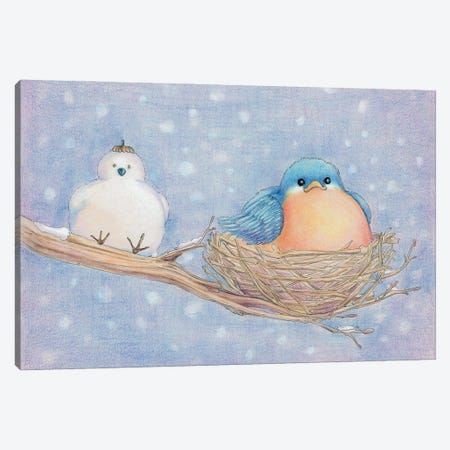 Lonely Blue Bird Canvas Print #FAI9} by Might Fly Art & Illustration Canvas Print