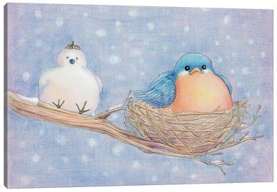 Lonely Blue Bird Canvas Art Print