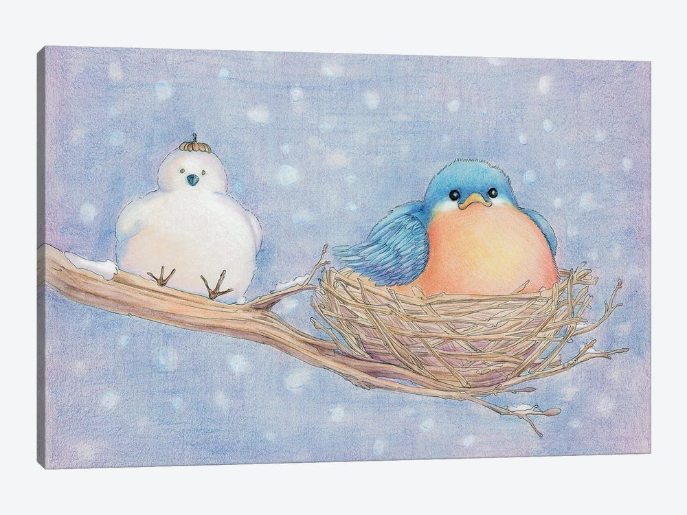 Lonely Blue Bird by Might Fly Art & Illustration 1-piece Canvas Art