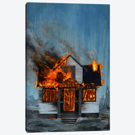 House On Fire Canvas Print #FAM20} by Famous When Dead Canvas Art Print