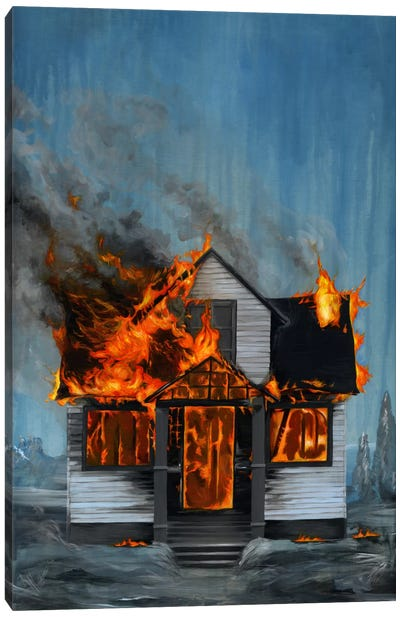 House On Fire Canvas Art Print